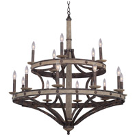 Kalco Florence Gold Reclaimed Wood Chandeliers