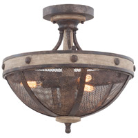 Coronado 3 Light 16 inch Florence Gold Semi Flush Ceiling Light