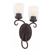Castaic 2 Light 9 inch Antique Copper Wall Bracket (Left) Wall Light FALL CLEARANCE