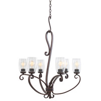 Kalco Castaic 6 Light Chandelier in Antique Copper 7207AC