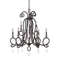 Kalco Winona 10 Light Chandelier in Tarnished Brass 7228TB