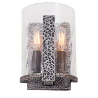 Kalco Odessa 2 Light Wall Sconce in Hammered Silver 7272HS