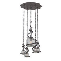 Odessa 4 Light 28 inch Hammered Silver Pendant Ceiling Light