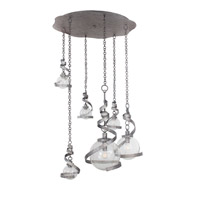 Odessa 6 Light 37 inch Hammered Silver Pendant Ceiling Light