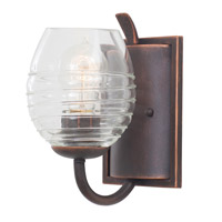 Kalco 7351AC Seabrook 1 Light 5 inch Moon Silver Bath Vanity Wall Light in Antique Copper