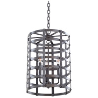 Kalco Lighting Townsend 3 Light Hanging Lantern in Vintage Iron 7403VI