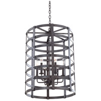 Kalco Lighting Townsend 6 Light Hanging Lantern in Vintage Iron 7404VI