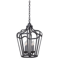 Kalco 7414CL Livingston 4 Light 14 inch Charcoal Hanging Lantern Ceiling Light in Vintage Iron