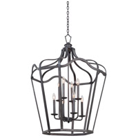 Kalco Lighting Livingston 6 Light Hanging Lantern in Charcoal 7416CL