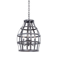 Kalco Lighting Townsend 3 Light Hanging Lantern in Vintage Iron 7493VI