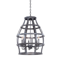 Kalco Lighting Townsend 6 Light Hanging Lantern in Vintage Iron 7495VI