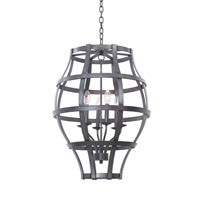 Kalco Lighting Townsend 6 Light Hanging Lantern in Vintage Iron 7496VI