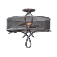 Delancy 2 Light 20 inch Vintage Iron Semi Flush Ceiling Light