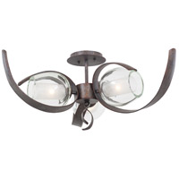 Solana 3 Light 28 inch Oxidized Copper Semi Flush Ceiling Light