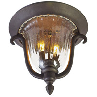 Kalco Santa Barbara 2 Light Outdoor Flush Mount in Textured Matte Black 9017MB