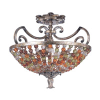 Kalco Chesapeake 3 Light Semi Flush Mount in Antique Silver Leaf 2565AF