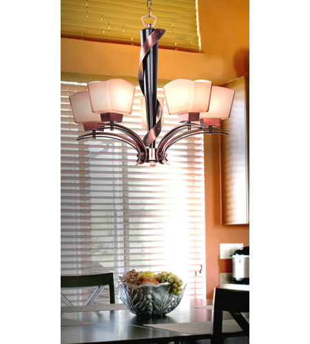 Kenroy Lighting Oslo 5 Light Chandelier in Burnished Copper with Black Cherry Wood   02736 photo