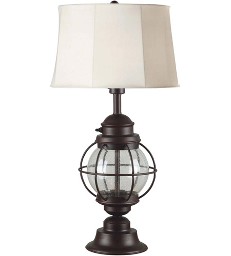 Kenroy Lighting Hatteras 1 Light Table Lamp in Gilded Copper with Seeded Glass   03070 photo