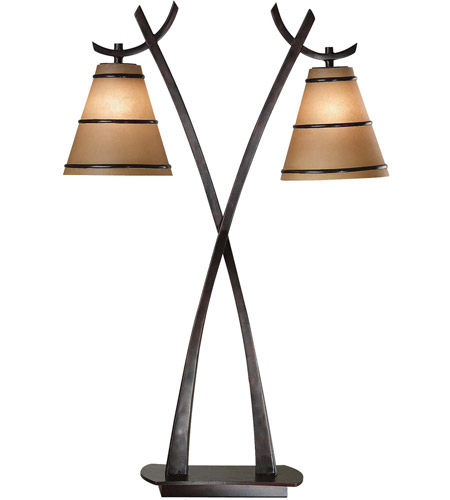 Kenroy Lighting Wright 2 Light Table Lamp in Oil Rubbed Bronze   03334 photo