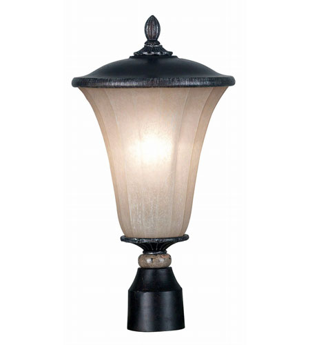 Kenroy Lighting Leafston 1 Light Outdoor Post Lantern in Mercury Bronze  with Brown Marble Accents  10173MBZ photo