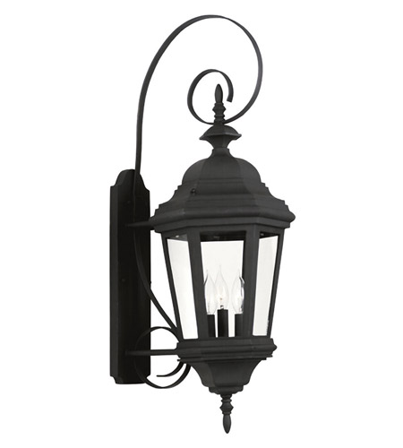 Kenroy Lighting Estate 3 Light Outdoor Wall Lantern in Black   16314BL photo