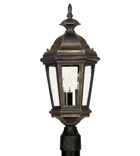 Kenroy Lighting Estate 3 Light Outdoor Post Lantern in Antique Patina   16316AP photo