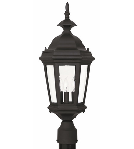 Kenroy Lighting Estate 3 Light Outdoor Post Lantern in Black   16316BL photo