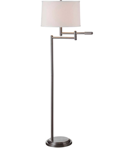 Kenroy Lighting Theta 1 Light Swing Arm Floor Lamp in Brushed Steel   20941BS photo