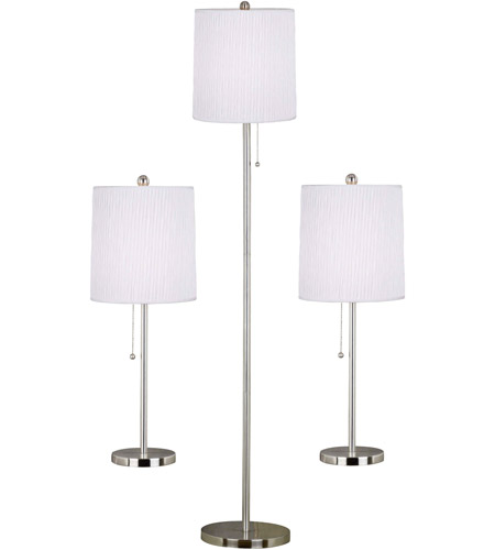 Kenroy Lighting Selma 2 Light 3 Pack - 2 Table/1 Floor Lamps in Brushed Steel   21016BS photo
