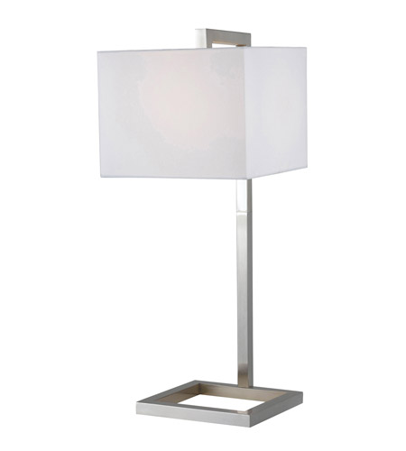 Kenroy Lighting 21079BS 4 Square 30 inch 150 watt Brushed Steel Table Lamp Portable Light in White photo