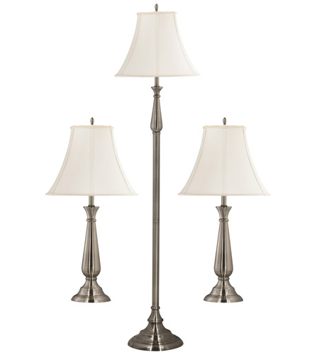 Kenroy Lighting Banister 1 Light 3 Pack - 2 Table/1 Floor Lamps in Brushed Steel   29020BS photo