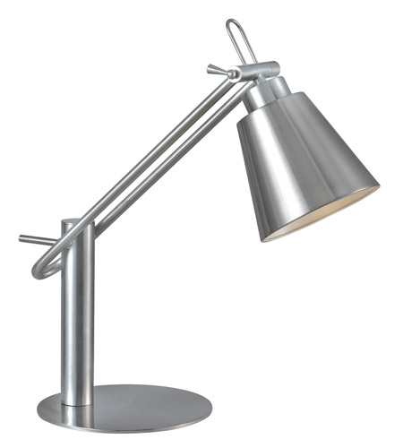 Kenroy Lighting 32004BS Nelson 20 inch 60 watt Brushed Steel Desk Lamp Portable Light photo