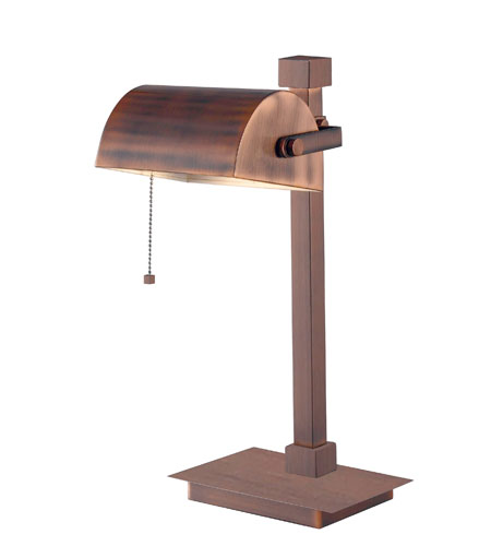 Kenroy Lighting 32008VC Welker 19 inch 60 watt Vintage Copper Desk Lamp Portable Light photo