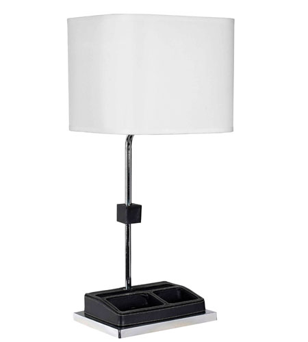 Kenroy Lighting Admin 1 Light Desk Lamp in Chrome  with Faux Leather Accents  32167CHL photo