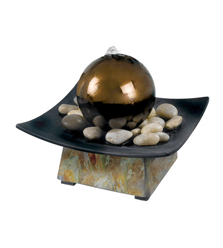 Kenroy Lighting 50235SL Sphere Natural Green Slate/Copper Table Fountain Home Decor photo