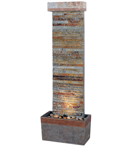 Kenroy Lighting Tacora 1 Light Indoor/Outdoor Floor Fountain in Natural Slate/Copper 50293SLCOP photo