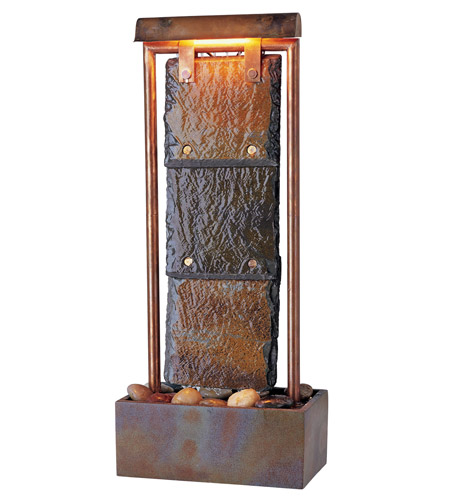 Kenroy Lighting Montpelier 2 Light Table Fountain in Natural Slate with Copper   50301COP photo