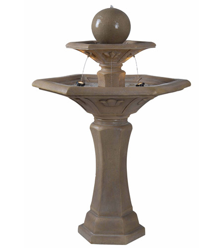 Kenroy Lighting Provence 2 Light Outdoor Floor Fountain in Dark Travertine   50325DT photo