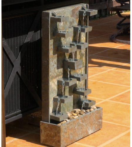 Kenroy Lighting Watercross 1 Light Floor Fountain in Natural Green Slate   50375SL photo