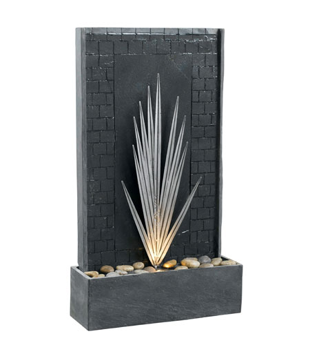 Kenroy Lighting Plaza 1 Light Floor Fountain in Natural Gray Slate with Decorative Metal Accents  50377GYSL photo