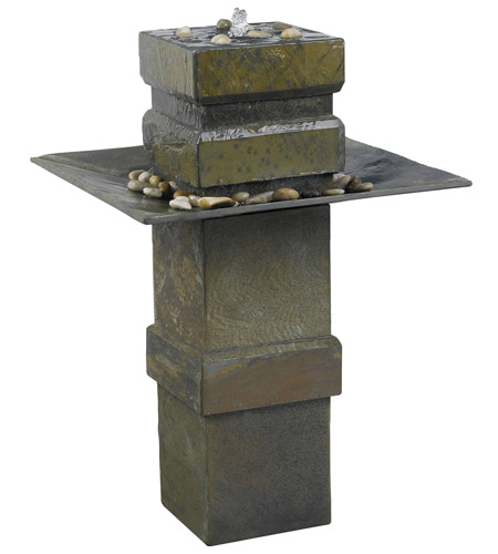 Kenroy Lighting Cubist Floor Fountain in Natural Slate   53210SL photo