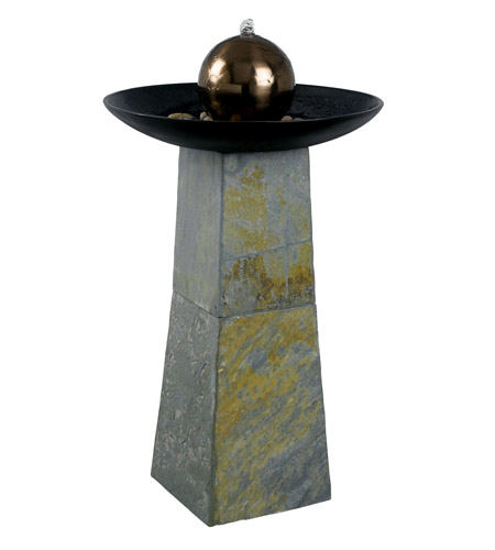 Kenroy Lighting 53226SL Sleek Natural Green Slate/Copper Indoor/Outdoor Floor Fountain photo