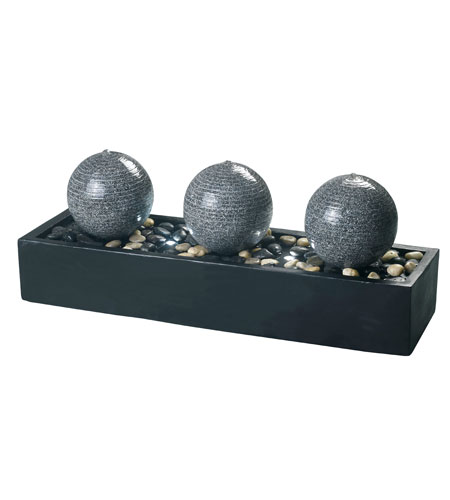 Kenroy Lighting 53251BL Bocce Black Finish with Gray Granite Finish Orbs Indoor Floor Fountain Home Decor photo