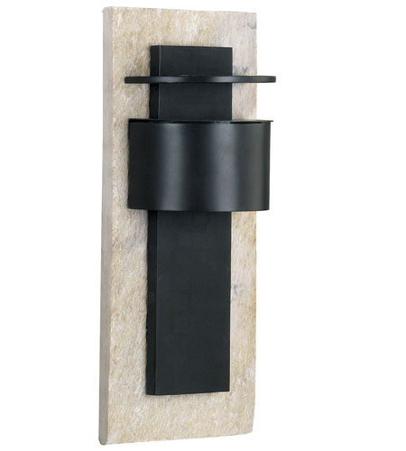 Kenroy Lighting Pembrooke 1 Light Outdoor Wall Lantern in Natural White Slate with Bronze   70285WHSL photo