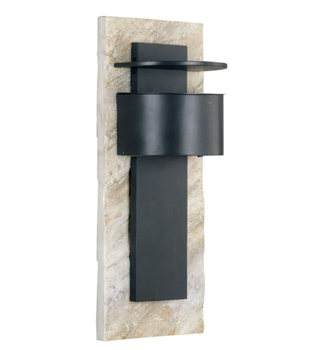 Kenroy Lighting Pembrooke 1 Light Outdoor Wall Lantern in Natural White Slate with Bronze   70286WHSL photo