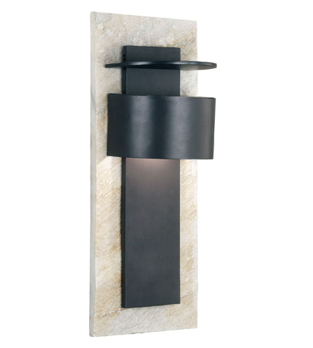 Kenroy Lighting Pembrook 1 Light Outdoor Lantern in Natural White Slate with Bronze   70287WHSL photo