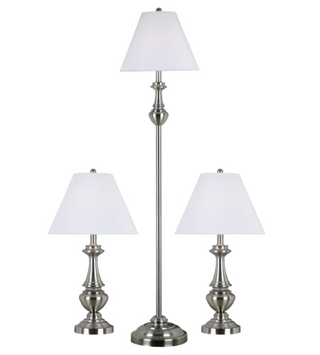 Kenroy Lighting New Hope 1 Light 3 Pack - 2 Table/1 Floor Lamps in Brushed Steel   80010BS photo