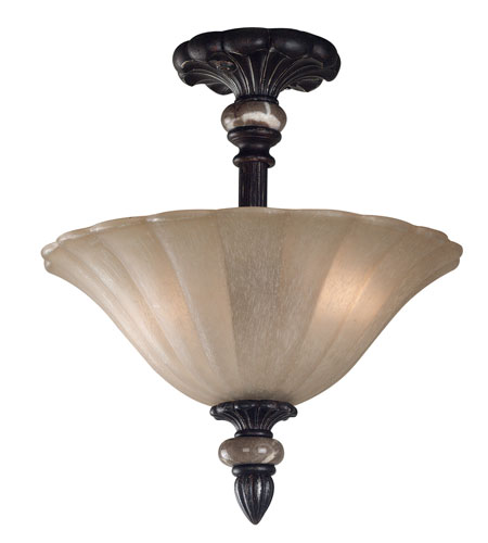 Kenroy Lighting Leafston 2 Light Semi-Flush in Mercury Bronze  with Brown Marble Accents  80290MBZ photo