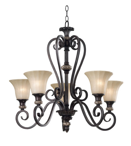 Kenroy Lighting Leafston 5 Light Chandelier in Mercury Bronze  with Brown Marble Accents  80295MBZ photo
