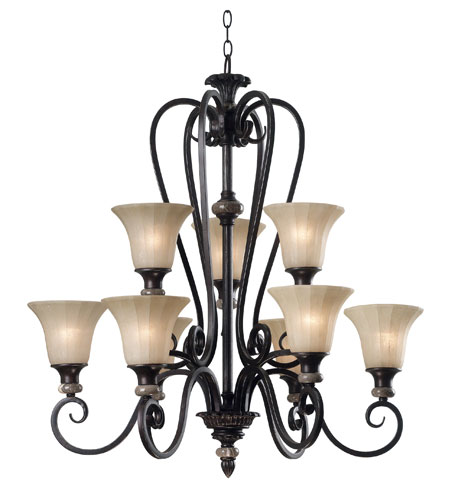 Kenroy Lighting Leafston 9 Light Chandelier in Mercury Bronze  with Brown Marble Accents  80299MBZ photo